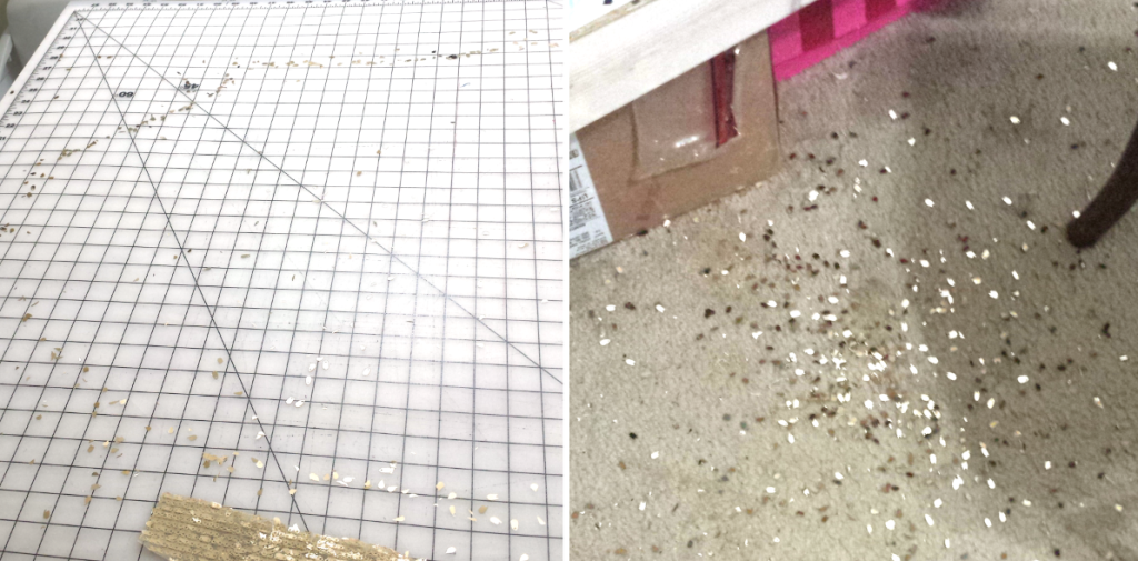 Left: Table after cutting out a piece Right: sequins from trimming one seam allowance