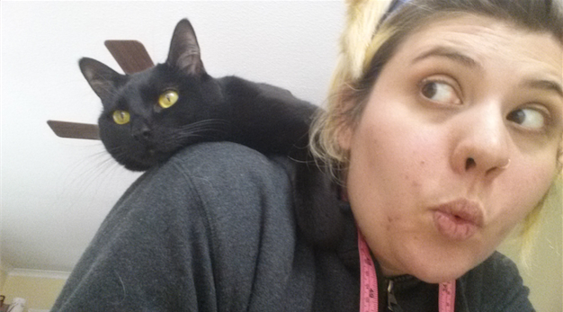 I really enjoy taking ridiculous selfies with my cats. This is Midna, btw.